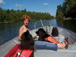 Photo: Maggie, Paddy and Barb in boat.