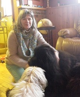 Newfoundland dog Angus, with his owner Judy