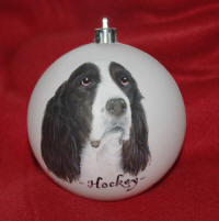 Christmas ornament of English Springer Spaniel 'Hockey'